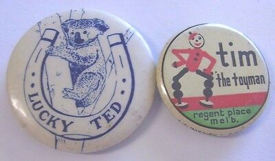 2 Vintage Button Badges Tim The Toyman Regent Place Melbourne, Lucky Ted Koala
