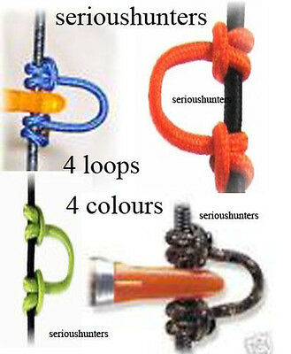 4 BRAIDED BOW STRING RELEASE D LOOP 4 pack 1 each of BLUE CAMO ORANGE AND GREEN