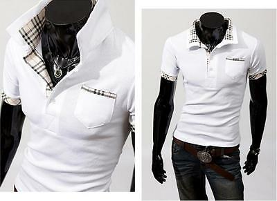 White XS Men Polo Blouse Short Sleeve Casual Slim Style Top Shirt New Fashion