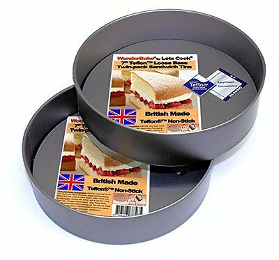 WonderBake Victoria Sandwich Cake Tins, Set of 2, Loose Base 7 Inch, Teflon ®TM