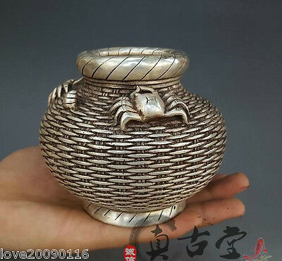 Collectible Decorate Old Handwork Silver Plate Copper Carve Crab Fish Basket