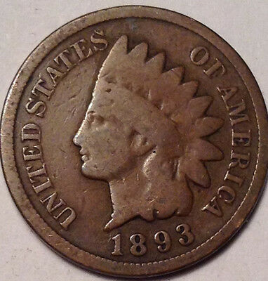 1893 Usa Indian Head Small Penny Nice Old Coin !!