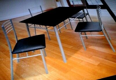 Milano Black Glass Dining Table and 4 Chairs Set  new