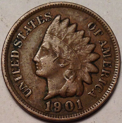 1901 Usa Indian Head Small Penny In Good Condition !!