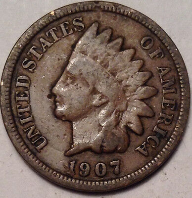 1907 Usa Indian Head Small Penny Nice Old Coin !
