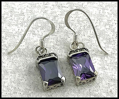 VINTAGE .925 Sterling Silver, Cubic Zirconia & Marcasite Earrings, French Wires