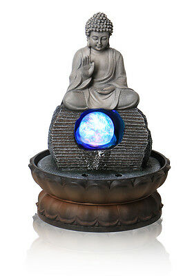Buddha Table Top Water Feature Indoor Crystal Sphere Blue Lights Waterfall Grey
