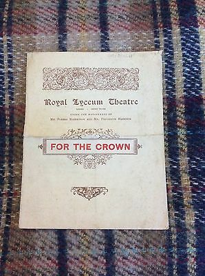 An Old Original Theatre Programme For The Crown @ Royal Lyceum Theatre 1896