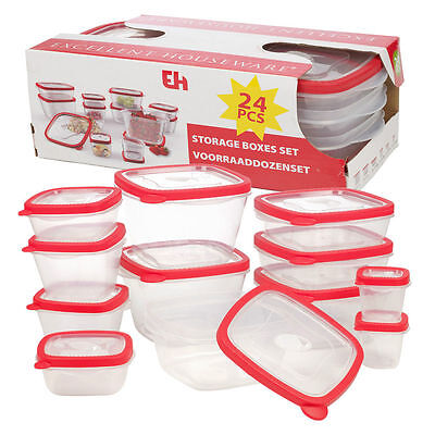 24 BPA Free Plastic Food Storage Box Containers & Lids Set Microwave Dishwasher