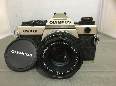 Olympus OM4 Ti CHAMPAGNE  BODY WITH 50MM F1.8 + FREE UK POSTAGE