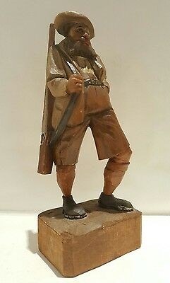 Vintage hand carved wooden figure of a man Black Forest Swiss carving