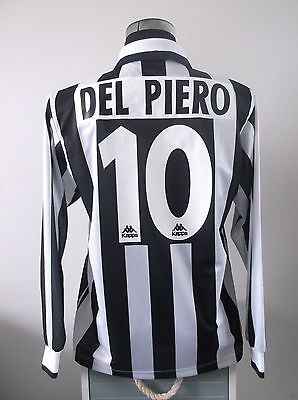 Alessandro DEL PIERO #10 Juventus L/S Home Football Shirt Jersey 1995/96 (M)