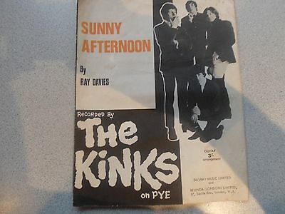 Original Music Sheet The Kinks Sunny Afternoon