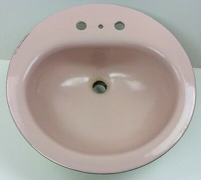 1963 Round Pink Enameled Cast Iron Bathroom Lavatory Sink American Standard