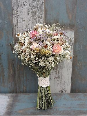 """Dried Flowers Bouquet Mother's Day Gift Pastel Colours Brunia Country Harvest12"""""""