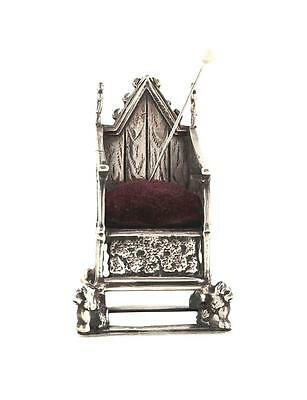 Antique Edwardian Sterling Silver Coronation Chair/throne Pin Cushion - 1901