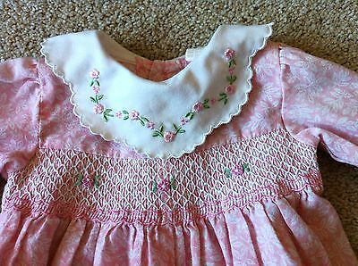 Vintage Baby Girls SMOCKED ROMPER Pink 6-9 Mos Embroidered Collar Valentines Day