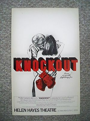 KNOCKOUT Window Card DANNY AIELLO / ED O'NEILL Helen Hayes Theatre NYC 1979