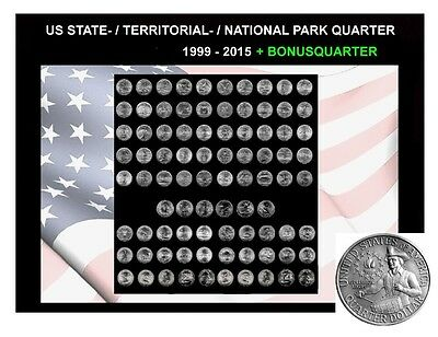 86 US State-/Territorial-/National Park Quarter 1999 - 2015 D Mint + Bonus