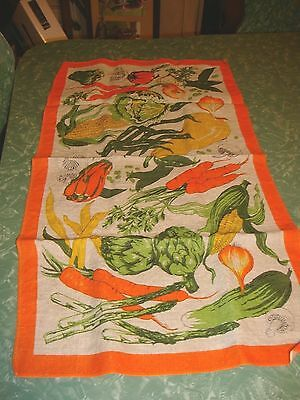 Vtg Linen Veggie Vegetable Dish Tea Kitchen Towel Bright Orange Green mushroom