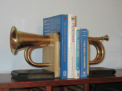 Handmade Bugle Bookends, Artistic-Music Theme,Great for Office, Man Cave, Xmas