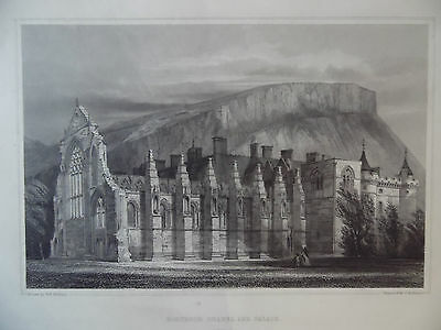 Holyrood Chapel and Palace Antique Engraving 'Antiquities of Scotland' c1850