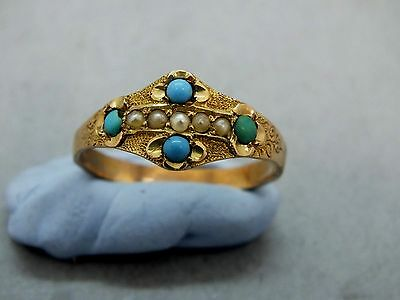 Early 19th C Georgian 18ct Gold (tested) Turquoise & Pearl Gypsy Ring c1820