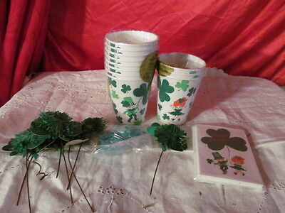 Vintage St Patricks Day Party Supplies Invites Cups Picks