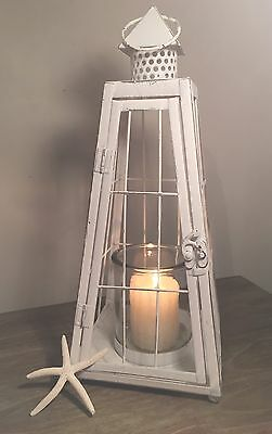 Large White Coastal Rustic Vintage Style Metal Lantern Candle Holder Garden Home
