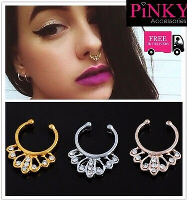 Nose Clip on Septum Hoop Ring Body Non Piercing Diamontes Gold, Rose, Silver UK