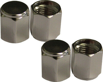 Pack of 4 Silver Alloy Hex Tyre Valve Caps