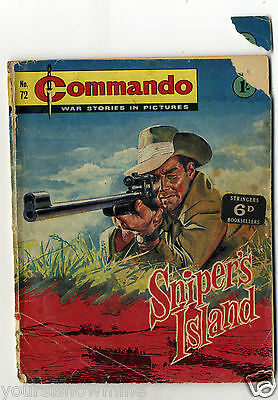 SNIPER'S ISLAND. No.72. 1963 COMMANDO COMIC. WAR STORIES IN PICTURES (1/-) ISSUE