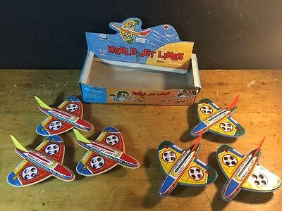 Vintage World Jet Lines Tin Toy Hong Kong 6 Piece Dime Store Display Friction