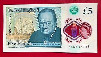 RARE COLLECTORS NEW £5 Polymer note. AA55 147581
