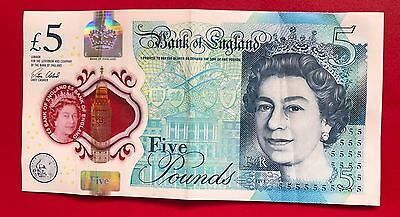 RARE COLLECTORS - LOW SERIAL NUMBER -  NEW £5 Polymer note. AA01 281418