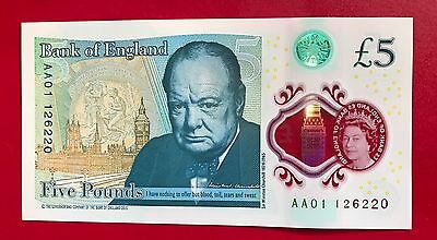 RARE COLLECTORS - LOW SERIAL NUMBER-   NEW £5 Polymer note. AA01 126220