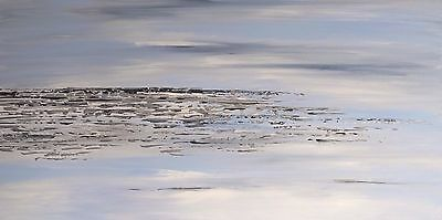 HUGE SILVER ORIGINAL ABSTRACT ACRYLIC CONTEMPORARY PAINTING 120x60cm deep canvas