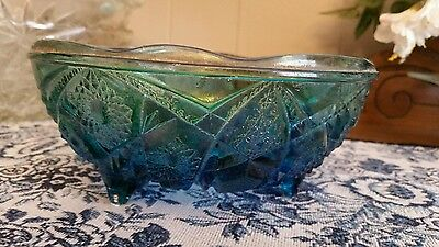 Vintage footed blue candy dish with raised cut design