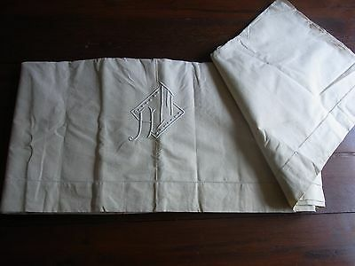 Drap 11 ancien métis écru brodé monogram HM 215x300 OLD METIS SHEET EMBROIDERED