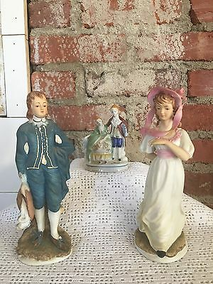 Lefton China Limited Edition Pinkie & Blue Boy KW387 + Occupied Japan Figure