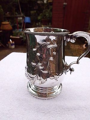Victorian embossed Silver Plated 1 pint Tankard