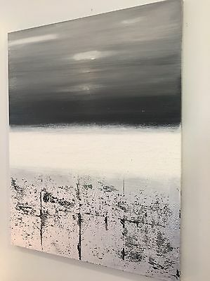 Original Abstract Oil Canvas Painting Wall Art Gray Silver Black White Landscape