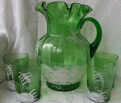 Antique  Mary Gregory Victorian Emerald Green Glass Water Pitcher & 4 Glasses