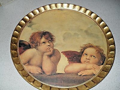 Vintage SEZZATINI HAND PAINTED ROUND TOLE WOOD FLORENTINE TRAY WITH ANGELS