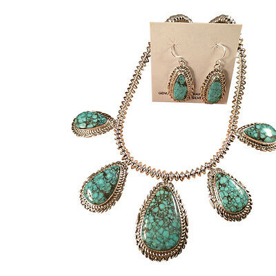 Thomas Francisco Spider Web Turquoise & Sterling Necklace & Earring Set