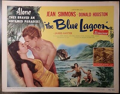 The Blue Lagoon  title lobby card TC 1949  On island for two with Jean Simmons