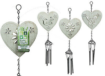 Heart Decor Windchimes Wind Chime Metal 4 Tubes Hanging Ornament Garden Home