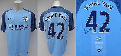 2016-17 Man City Home Shirt Signed by Yaya Toure No.42 - Official COA (10110)