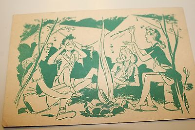 Girl Scout Postcard, Vintage, Singing Around the Campfire