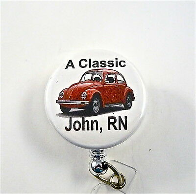 Volkswagen Classic Id Badge Reel Retractable Customized,medical,er,tech,dr. Rn